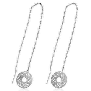 Feshionn IOBI Earrings Silver Edgy Spiral Graphix Disc Silver Thread Earrings