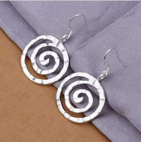 Feshionn IOBI Earrings Silver Hammered Spiral Sterling Silver Hook Earrings