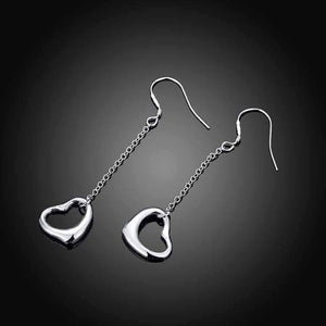 Feshionn IOBI Earrings Silver Love Chain Dangling Heart Earrings