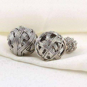 Feshionn IOBI Earrings Silver Metallic Moss Love Knot Reversible Stud Earrings