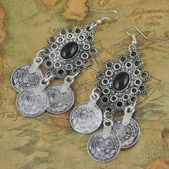Feshionn IOBI Earrings Silver Noble Roman Dangling Coin Chandelier Earrings