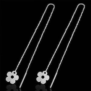 Feshionn IOBI Earrings Silver ON SALE - Edgy Bold Daisy Flowers Silver Thread Earrings
