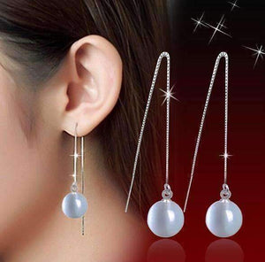 Feshionn IOBI Earrings Silver ON SALE - Naked Pearl Thread Earrings