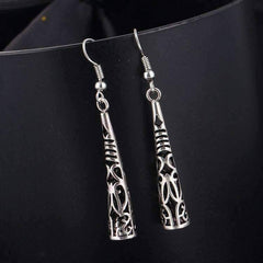 Feshionn IOBI Earrings Silver Patina Cut-Out Tribal Horn Dangling Earrings