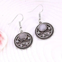 Feshionn IOBI Earrings Silver Patina ON SALE - Moonstones and Crystals Hook Earrings