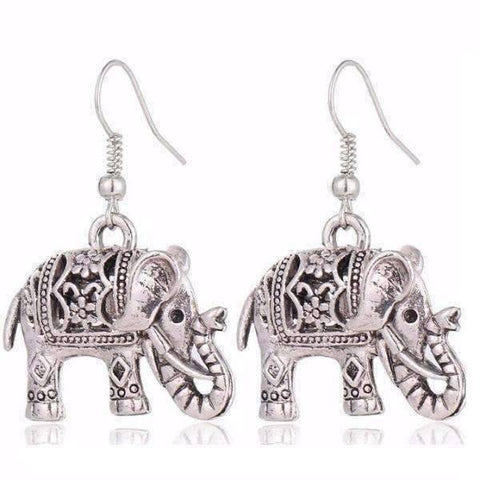 Feshionn IOBI Earrings Silver Patina ON SALE - Sacred Elephant Openwork Dangling Hook Earrings