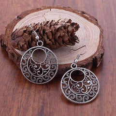 Feshionn IOBI Earrings Silver Patina Round Boho Scroll Silver Patina Hook Earrings