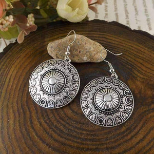 Feshionn IOBI Earrings Silver Patina Round Roman Stamped Medallion Silver Hook Earrings