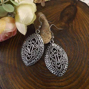 Feshionn IOBI Earrings Silver Patina Tibetan Shield Silver Scroll Dangling Hook Earrings