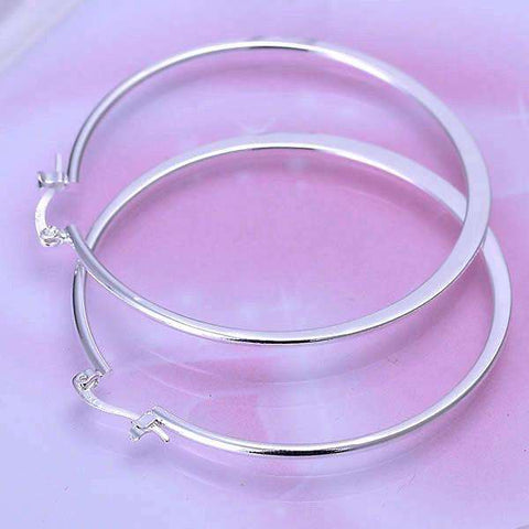 Feshionn IOBI Earrings Silver Razor Bold Hoop Earrings