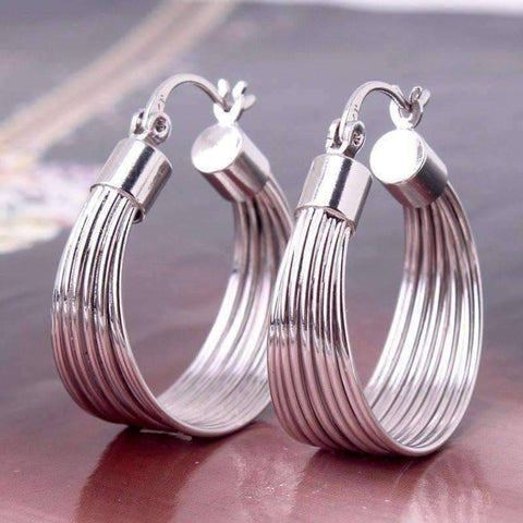 Feshionn IOBI Earrings Silver Silky Threads Hoop Earrings in Silver or Gold