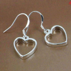 Silver Dangling Heart Earrings