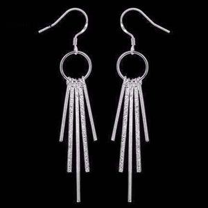 Feshionn IOBI Earrings silver Sterling Silver Five Link Bar Dangling Earrings