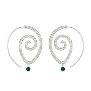 Feshionn IOBI Earrings Silver Tone Enlightened Jewel Accented Spiral Hoop Earrings in Silver or Gold Tone