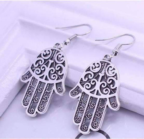 Feshionn IOBI Earrings Silver Traditional Hamsa Earrings