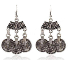 Feshionn IOBI Earrings Silver Vintage Persian Coin Dangling Tassel Earrings
