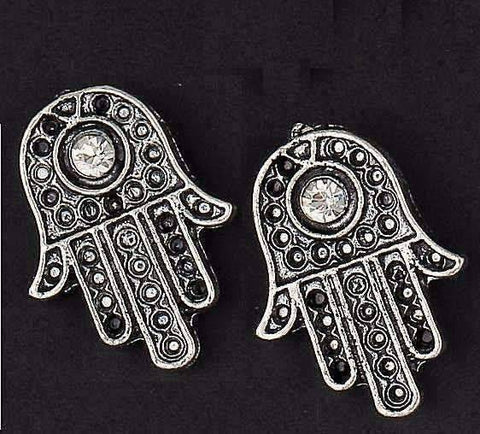 feshionn IOBI Earrings Silvery Sparkle Hamsa Stud Earrings