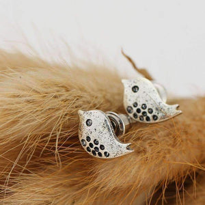 feshionn IOBI Earrings Silvery Wings Tweet Birdie Stud Earrings