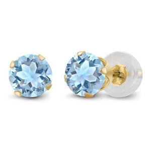 Feshionn IOBI Earrings Sky Blue 1.20CTW Genuine Sky Blue Topaz IOBI Precious Gems Stud Earrings