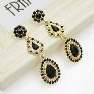 "Feshionn IOBI Earrings ""Sophia Ebony"" Crystal Drop Earrings"