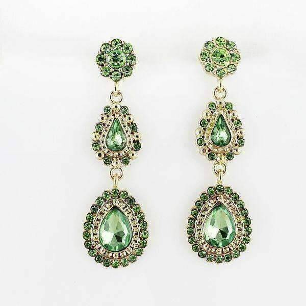 "Feshionn IOBI Earrings Green ""Sophia Greene"" Crystal Drop Earrings"