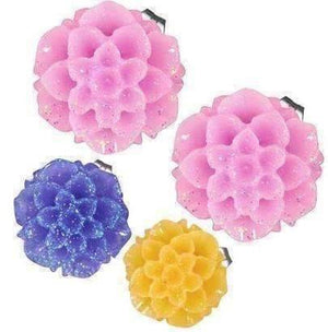 Feshionn IOBI Earrings Spring Pink Shimmering Dahlia Flower Stud Earrings in Three Fresh Colors