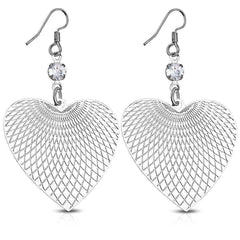 Feshionn IOBI Earrings Stainless Steel Graphic Hearts Diamond Etched Stainless Steel Earrings With CZ Accents