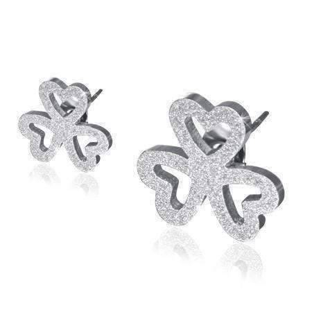Feshionn IOBI Earrings Stainless Steel Lucky Charm Sandblasted Stainless Steel Shamrock Stud Earrings