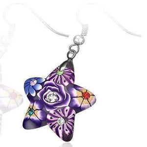 Feshionn IOBI Earrings Star Handcrafted Floral Cane Work Clay & CZ Earrings ~ Two Lively Colors to Choose From