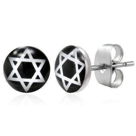 Feshionn IOBI Earrings Star of David Enamel Button Stud Earrings