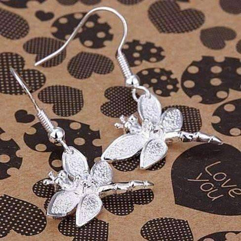 Feshionn IOBI Earrings Silver Sterling Silver Dragonfly Dangle Earrings