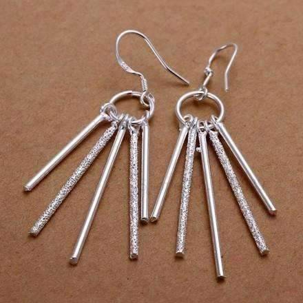 Feshionn IOBI Earrings Sterling Silver Five Link Bar Dangling Earrings