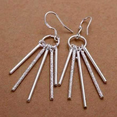 Sterling Silver Five Link Bar Dangling Earrings
