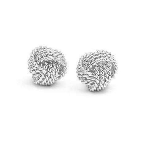 Feshionn IOBI Earrings Silver Sterling Silver Love Knot Stud Earrings