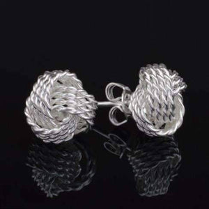 Feshionn IOBI Earrings Sterling Silver Love Knot Stud Earrings
