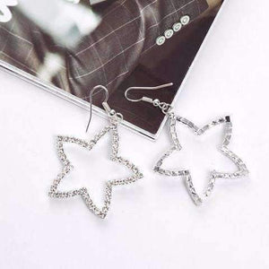 Feshionn IOBI Earrings Superstar Crystal Star Silhouette Dangling Earrings