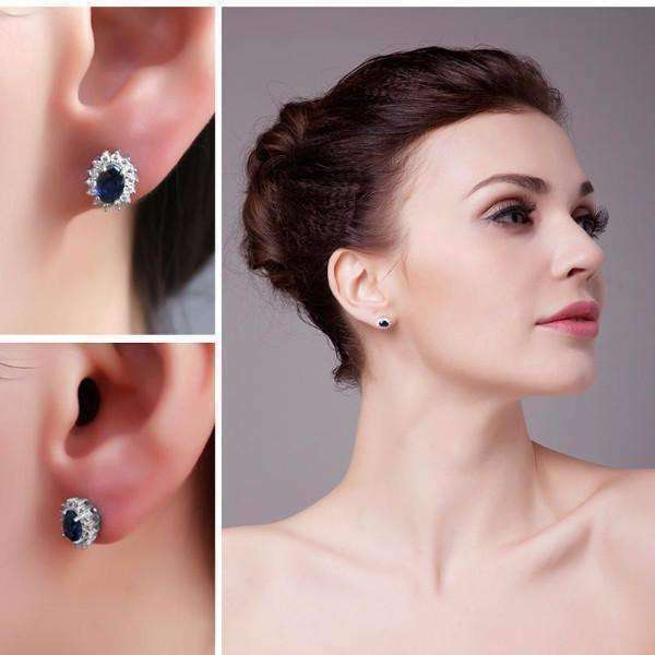 Feshionn IOBI Earrings Swiss Blue Earrings Swiss Blue Oval Cut 1CTW Simulated Sapphire IOBI Precious Gems Halo Earrings