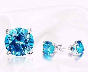 Feshionn IOBI Earrings Tahitian Blue 5.9CT Round Blue Topaz IOBI Precious Gems Stud Earrings