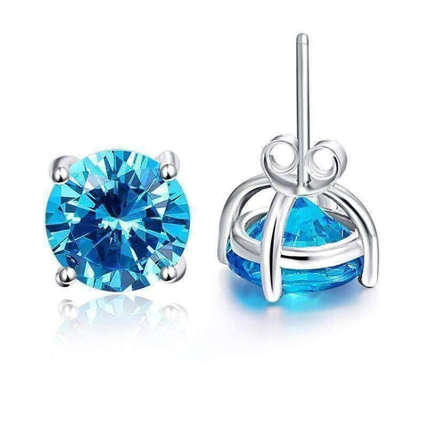 Feshionn IOBI Earrings Tahitian Blue Tahitian Blue 5.9CT Round Blue Topaz IOBI Precious Gems Stud Earrings