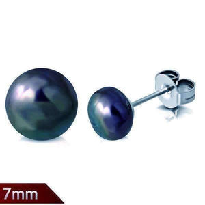 Feshionn IOBI Earrings Teal Tone Peacock Iridescent Black 7mm Genuine Cultured Pearl Stud Earrings