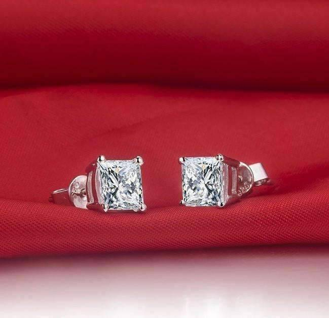 Feshionn IOBI Earrings Platinum / .75 Ct Tiara Princess Cut IOBI Cultured Diamond Solitaire Stud Earrings