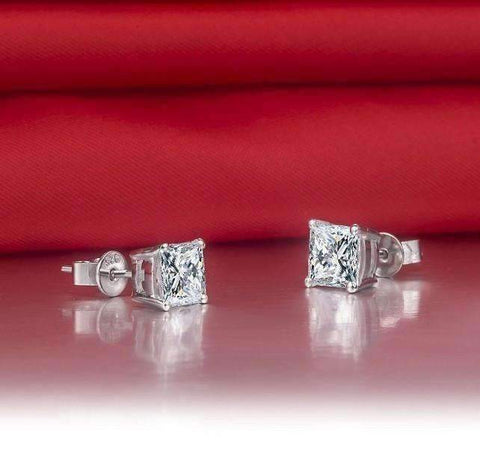 Feshionn IOBI Earrings Tiara Princess Cut IOBI Cultured Diamond Solitaire Stud Earrings