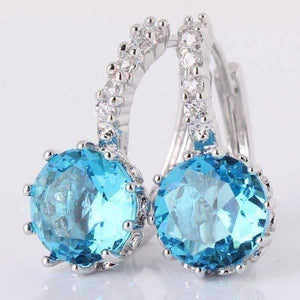 Feshionn IOBI Earrings Topaz Blue on White Gold Exotic Gems CZ Solitaire Hoop Earrings