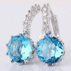 Feshionn IOBI Earrings Topaz CZ Solitaire Hoop Earrings