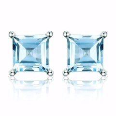 Feshionn IOBI Earrings Topaz Princess Earrings Ice Blue Genuine Topaz Princess Cut 0.7 CT IOBI Precious Gems Stud Earrings