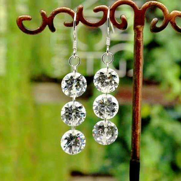 14K White Gold Plated Trio Naked IOBI Crystals Earrings For Woman
