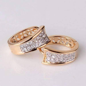 Feshionn IOBI Earrings Triple Pave Filigree Petite Hoops 18k Gold Plated