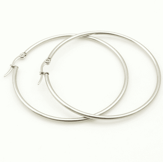 Feshionn IOBI Earrings 20mm / Stainless Steel Tubular Polished Stainless Steel Classic Hoop Earrings Available in Four Sizes