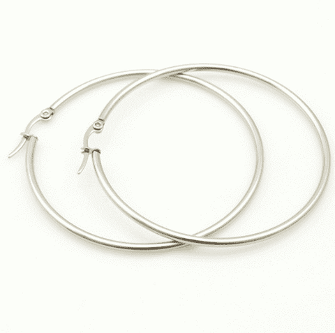 Feshionn IOBI Earrings Tubular Polished Stainless Steel Classic Hoop Earrings Available in Four Sizes