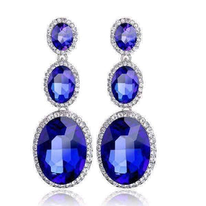 Feshionn IOBI Earrings Twilight Blue ON SALE - Evening Elegance Triple Crystal Drop Earrings - Two Colors To Choose